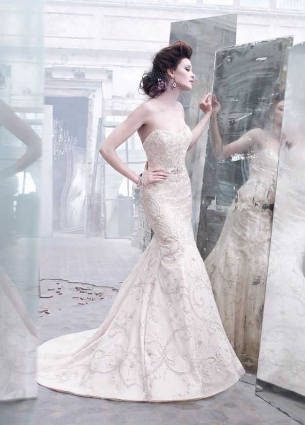 Awesome Platinum embroidered ivory tulle over rum pink silk faced satin bridal gown curved neckline