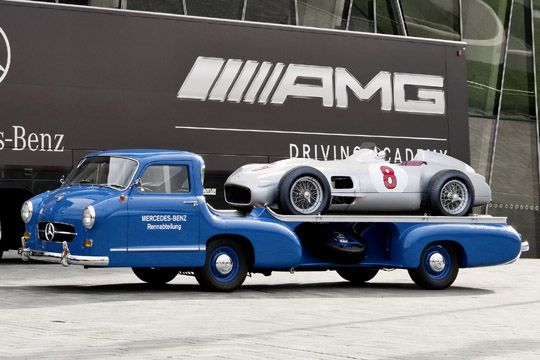 #blue 1955 Mercedes Race Car Transporter