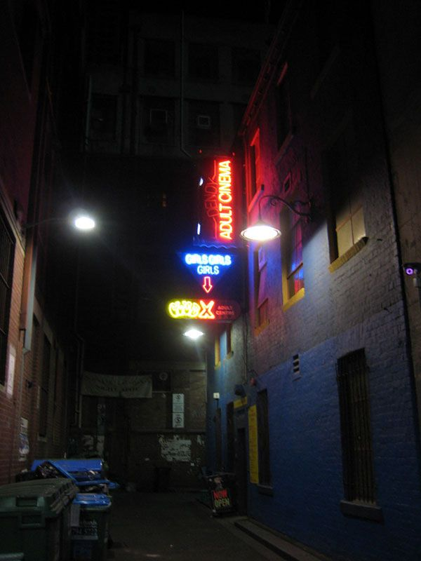 Seedy alleyway in Melbourne, Australia.