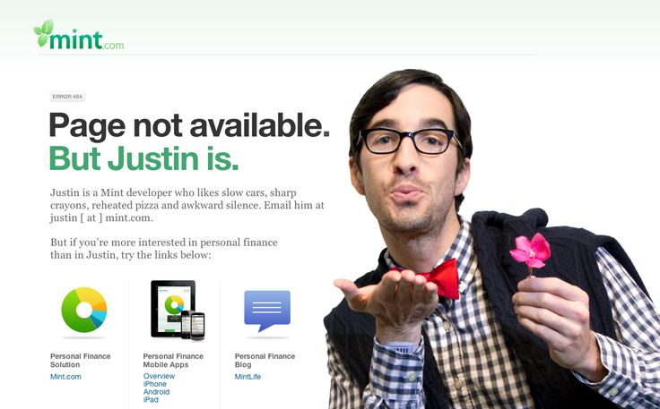 Funny and Helpful 404 Error Page from Mint.com › PatternTap