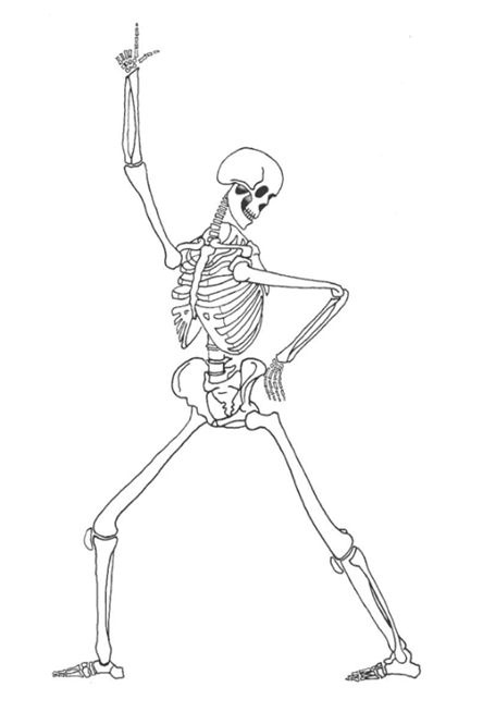 A lively diagram of a dancing skeleton, as A4 & A5 sizes, in black and white for ease of photocopying.