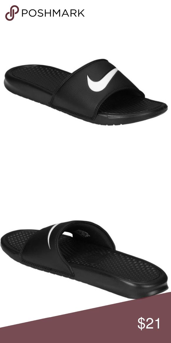 Nike Benassi Swoosh Slide black/white Unisex 11/12 The Nike Benassi Swoosh is the ultimate slide for lightweight comfort and a simple, stylish look. Cushioning provides a comfortable ride with every step while the classic Nike look never goes out of style. Slip out of your sneakers and slide into these for a nice change-up that doesn't sacrifice on style or comfort.  One-piece, synthetic leather strap is durable. Jersey lining provides a soft, comfortable feel. Lightweight comfort. Flex…