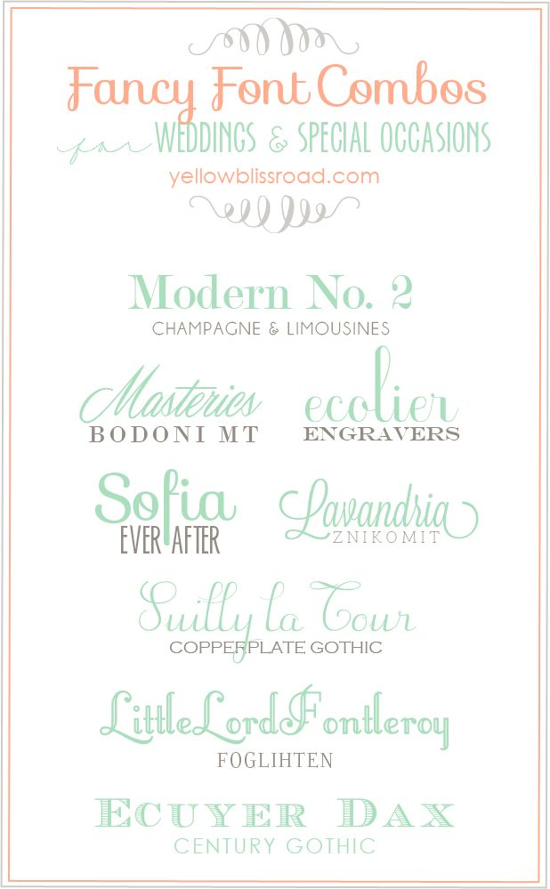 My favorite font combos for weddings and special occasions. Perfect for invitations and other party decor. Links to lots of other font combos too!