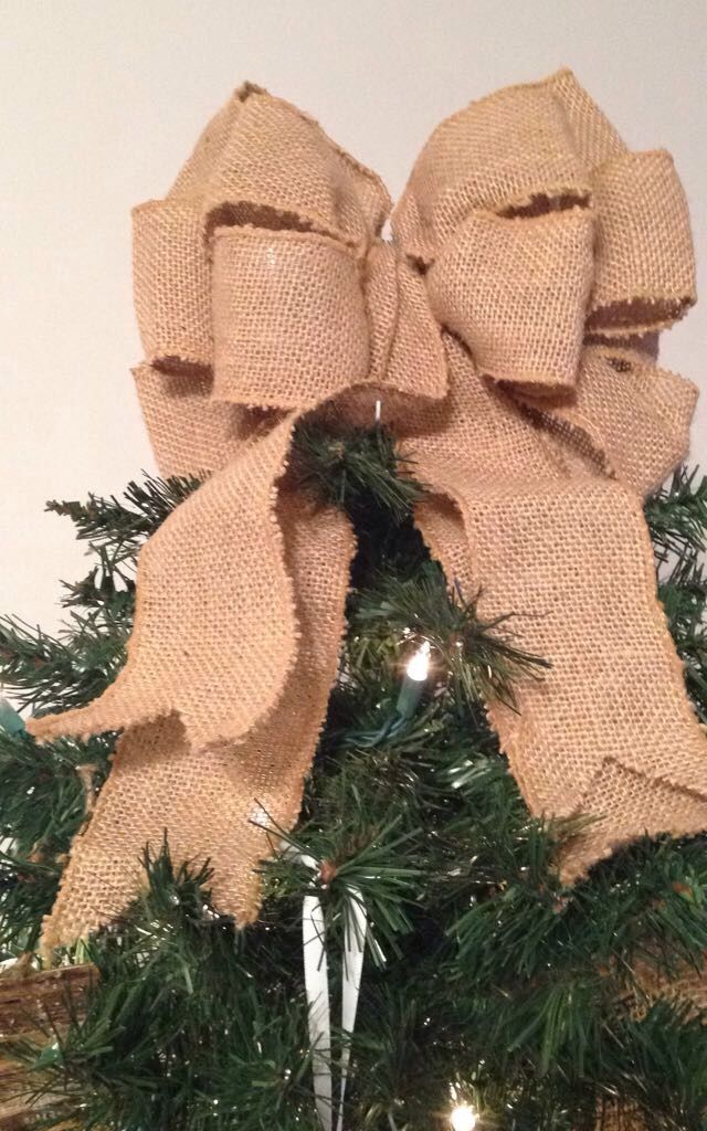 Burlap Bow Christmas Tree Topper For Rustic Glam Christmas