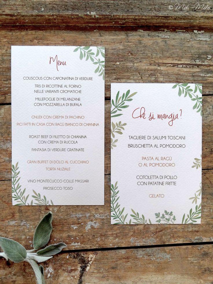 Menu e menu bambini per le nozze di Monica e Giacomo - Menu et menu pour enfants - Menu and Children Menu for Monica and Giacomo's Wedding Stationery by Méli-Mélo | Graphic Design