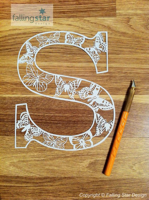 S is for Butterfly Letter Papercutting Template on Etsy, $13.46 AUD