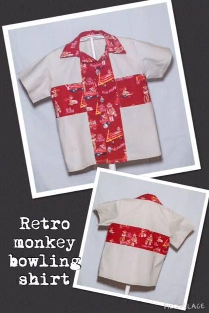 Handmade by ChaCheCreations Retro Sock Monkey Bowling Shirt