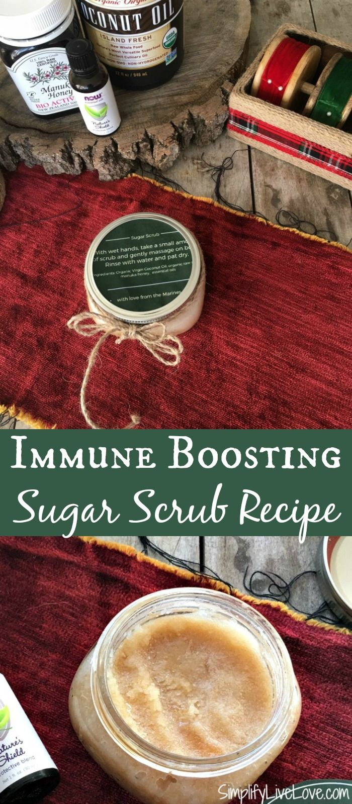 Here's an immune boosting sugar scrub recipe that smells great & leaves skin soft & lovely. Made in 5 minutes, it's a great last minute, practical gift too.
