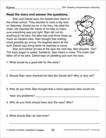 Short Story with Comprehension Questions: 3rd Grade ...