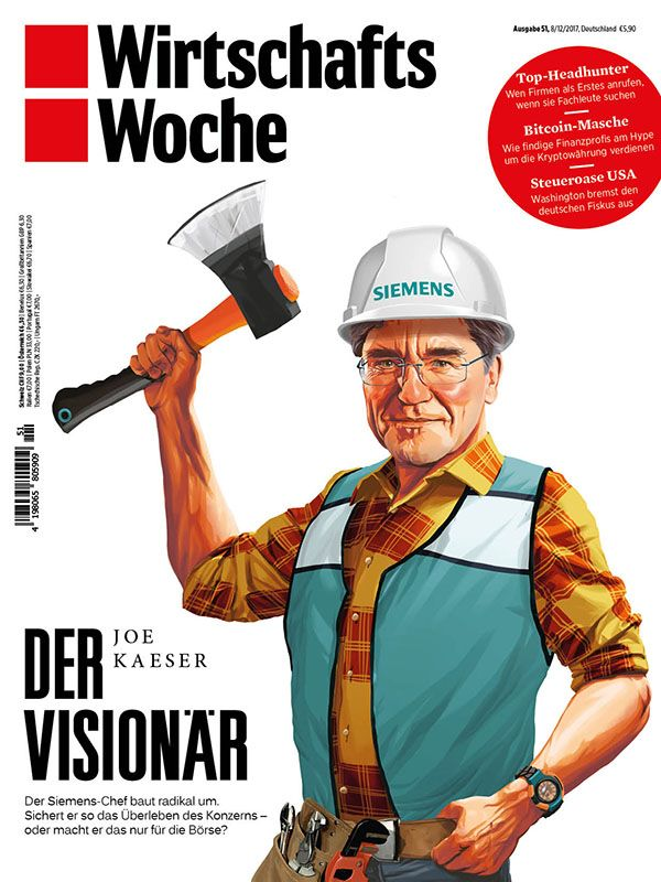 Mart Klein & Miriam Migliazzi illustrated Siemens CEO Joe Kaeser as Bob the Builder for the cover of the German Wirtschaftswoche in two versions: a cartoony original and a more realistic approach, which was used for the final.