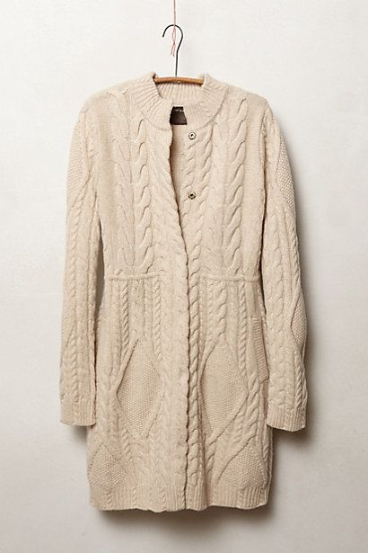 I love sweater coats and wear them often.  This cabled oatmeal cardie is from Anthropologie. LKR