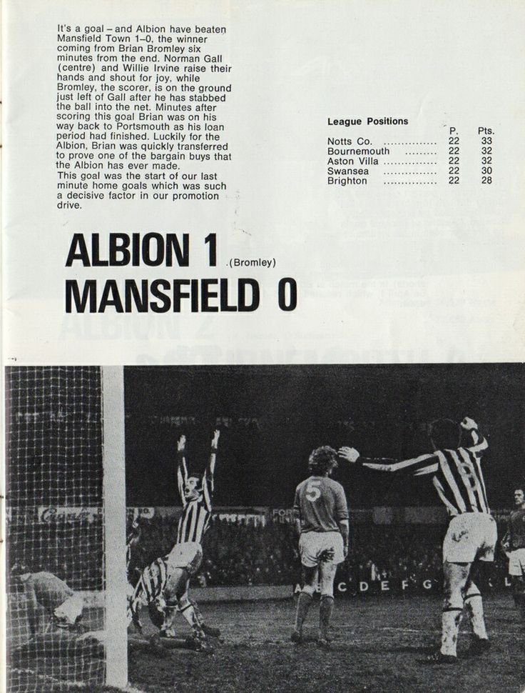 Brighton 1 Mansfield Town 0 in Jan 1972 at the Goldstone Ground. Action and report from the game in Division 3.