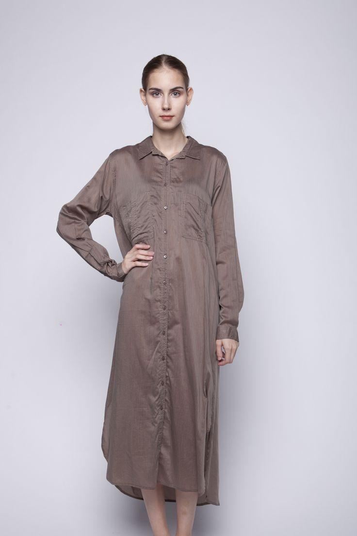 Jenara Shirt Dress Brown   Rp 221.250