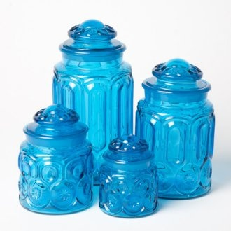 17 best images about kitchen canisters on pinterest vintage kitchen red kitchen canisters and - Blue glass kitchen canisters ...