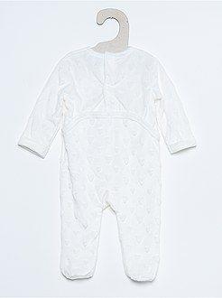 Pyjama, peignoir - Pyjama brodé en ratine douce - Kiabi