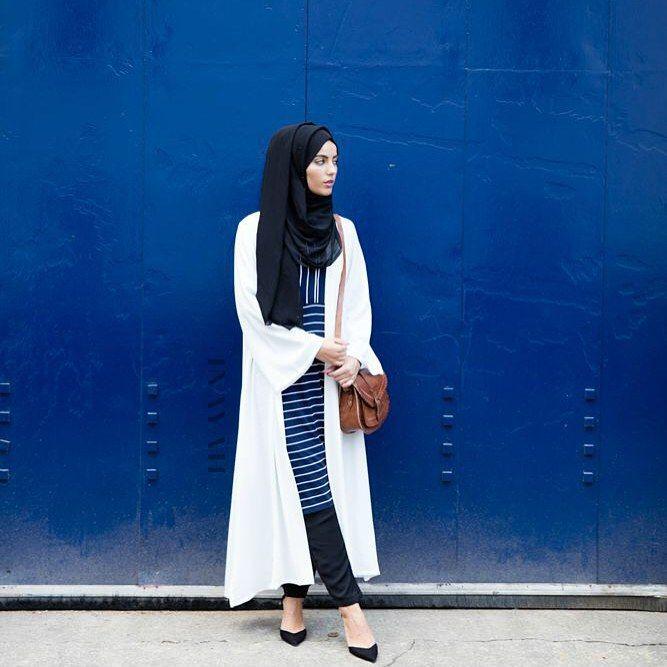 INAYAH | Black Georgette #Hijab + White Georgette #Kimono + Blue And White Pinstripe #Midi + Black Tapered #Trousers