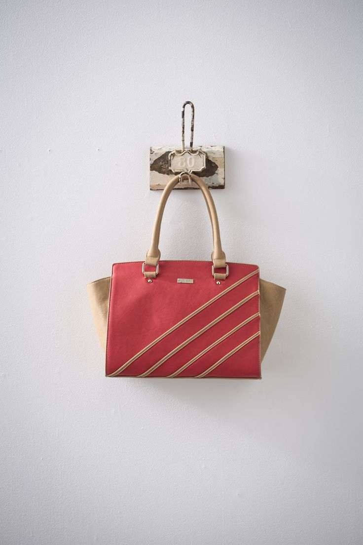 Kakra (Taupe/Coral) available at #zierashoes http://zierashoes.com/page/handbags