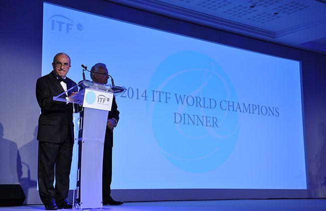 Le président de la FFT Jean Gachassin est en compagnie du président de l'ITF Francesco Ricci Bitti pour le Dîner des Champions. © FFT