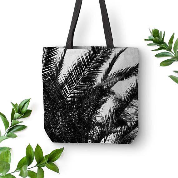 Palm Leaf Tote Tropical Bag Palm Tree Bags Black Canvas