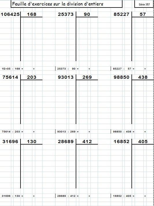G n rateur de divisions pos es le blog d 39 aliaslili math matique division pinterest division - Division a imprimer ...