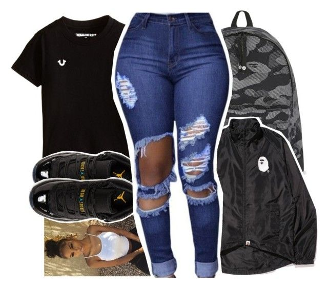 """""""My freshman outfit """" by pinksemia on Polyvore featuring A BATHING APE and Retrò"""