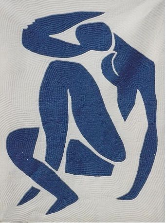 Blue Nude applique - WeddingQuilts.com