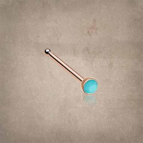 Turquoise rose gold nose stud, turquoise rose gold nose ring. 316L surgical…