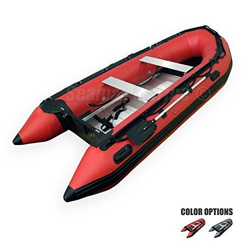 Seamax Ocean380 12.5 Feet Heavy Duty Inflatable Boat, Hot Welded Chamber Seam, Aluminum Floor, 5 1 Chambers, V Bottom, Reinforced Transom, Max 5 Passengers and 25HP Rated