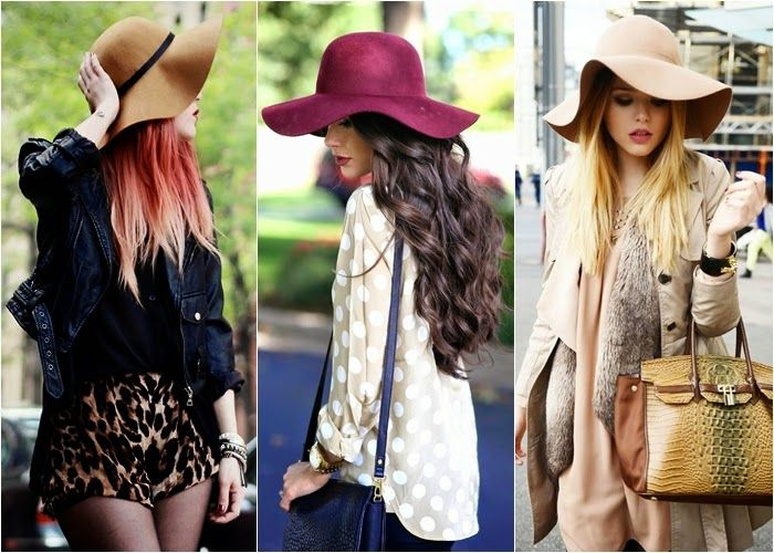 Fashion, style, trend, floppy, hat  Mais detalhes no blog: http://www.todacharmosa.com/2015/04/tendencia-inverno-2015-chapeu-floppy.html  <3