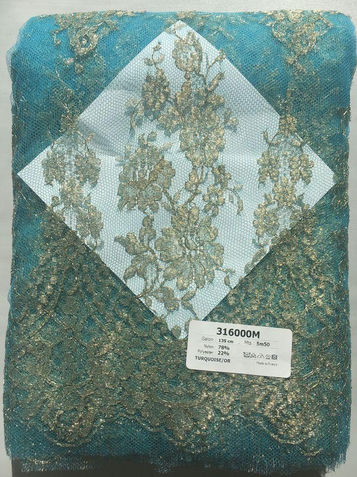 316000M - 135 cm - 5m50 - Turquoise/or - 402€ - Dentelles Jean Bracq