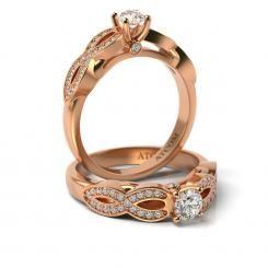 Inel de logodna Lux cu diamante Boris din aur roz