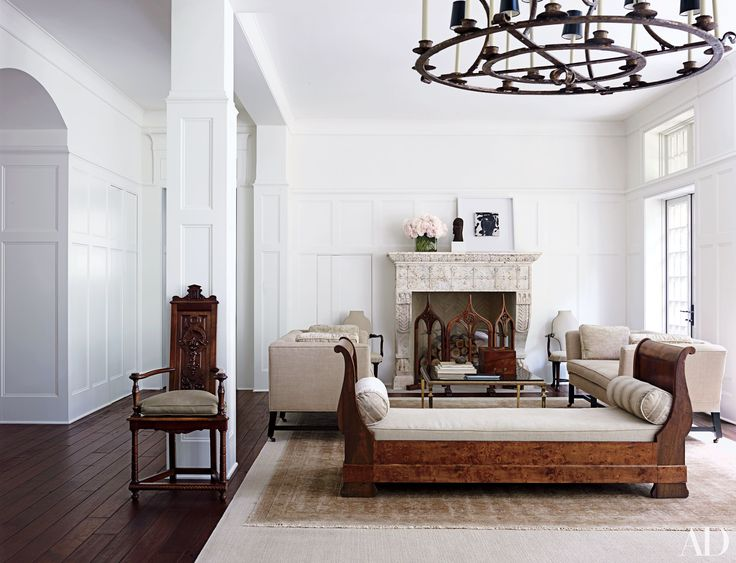 In A Tudor Style Home Near Washington D Interior Designer Darryl Carter Employed Antiques Such As Renaissance Revival Armchair And An Antique French