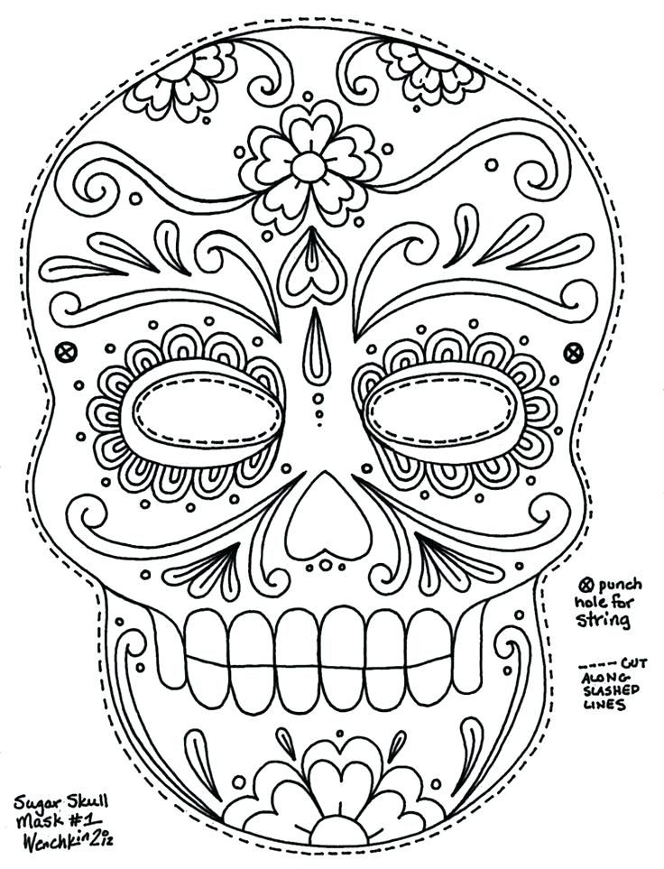 Simple Sugar Skull Coloring Pages Cute Coloring Coloring ...