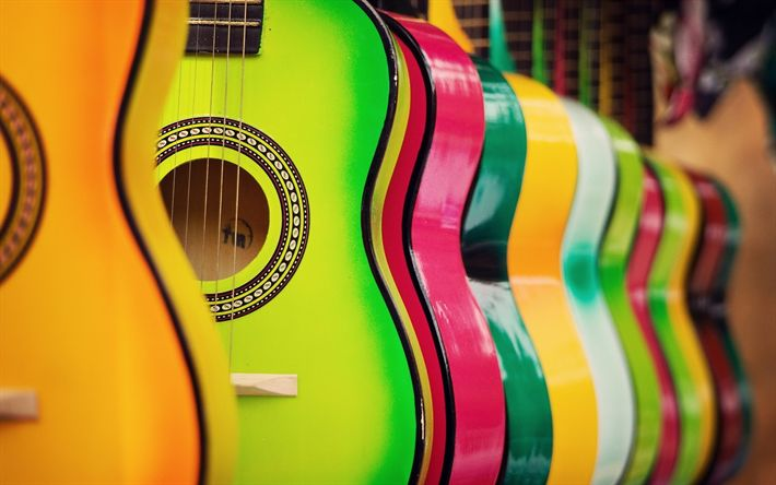 Scarica sfondi Multicolore chitarre, chitarra, negozio di musica, di legno chitarre