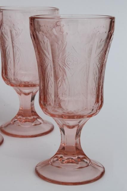 Vintage Pink Glass Water Glasses Recollection