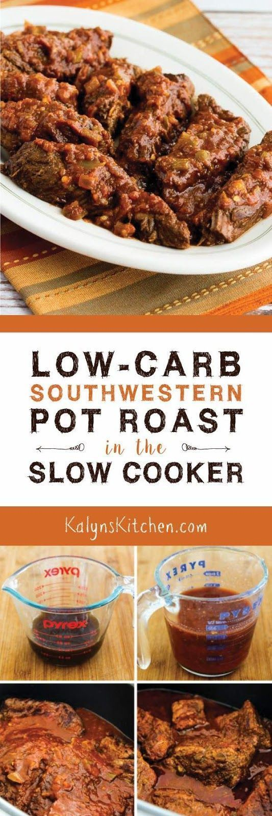Low-Carb Southwestern Pot Roast in the Slow Cooker is an easy recipe with only 5 ingredients, and it's also gluten-free, dairy-free, and can be Paleo with the right salsa. [found on http://KalynsKitchen.com]