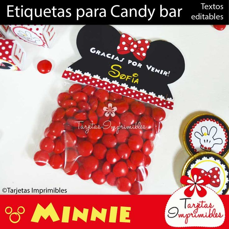Minnie Mouse: Etiquetas para Candy bar