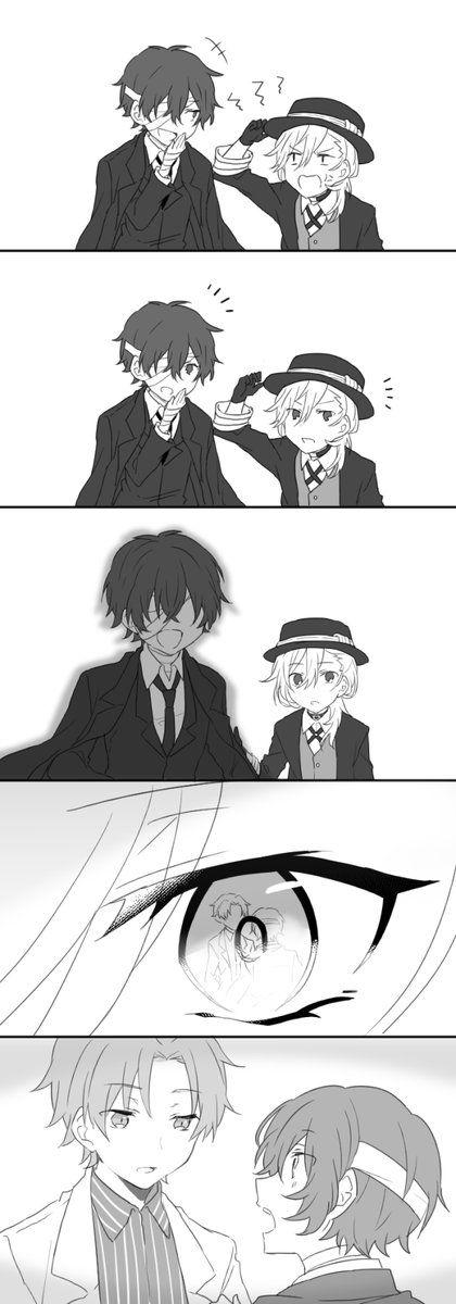 Dazai and Chuuya were probably each other's first friends. Then Dazai met Odasaku. Odasaku died. Dazai left. And Chuuya's all alone *crying in the corner*.