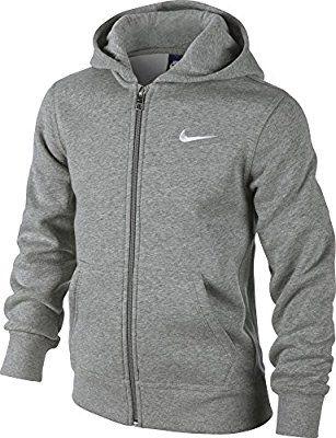Nike - Young Athletes 76 - Brushed Sweat-shirt à capuche zippé - Enfant - (Gris Foncé Heather/Blanc) - Taille: L (Taille Fabricant: 12-13 Ans/147-158)