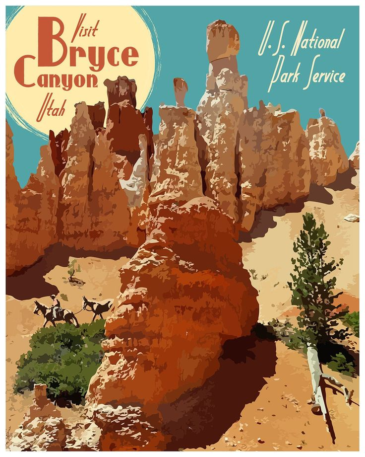 Bryce Canyon National Park Travel Poster, Vintage Bryce Canyon National Park Print