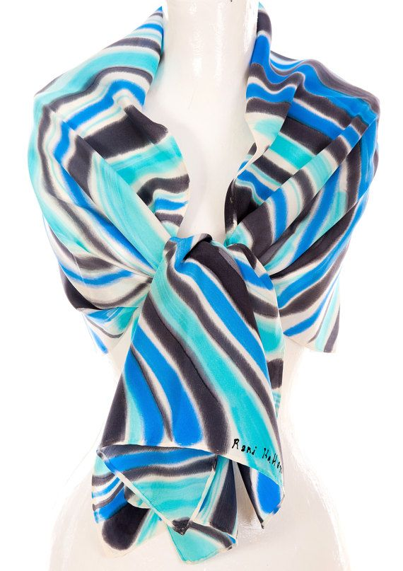 Hand Painted Crepe De Chine Scarf, Abstract Twirl, Fashion Accessory, ETSY Scarf, 18x60 inches, Gift, Crepe De Chine Scarf 100%.