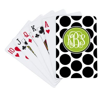 Monogrammed Black Dots Playing Cards