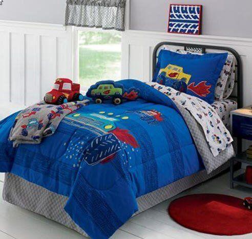 Monster Trucks Boys Full Comforter Set (8 Piece Bed In A Bag) by Kids Bedding, http://www.amazon.com/dp/B007JV6VU6/ref=cm_sw_r_pi_dp_fG-Xqb1R7XCN1