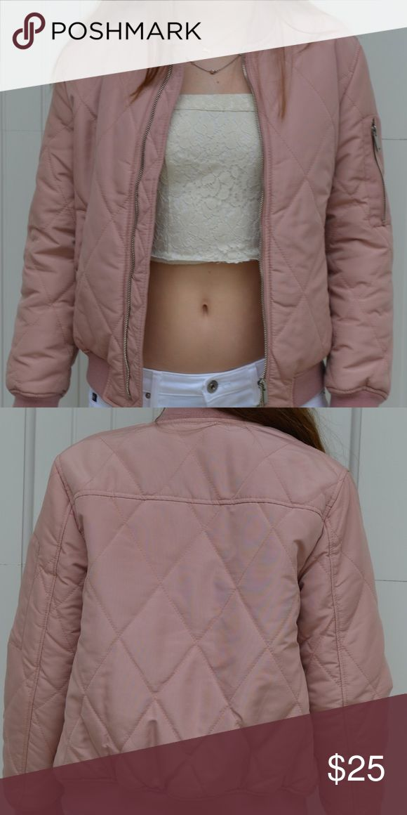 Pink Zara Bomber Jacket light pink Bomber jacket by Zara, size 11/12 in Kids size, so fits XS women Zara Jackets & Coats