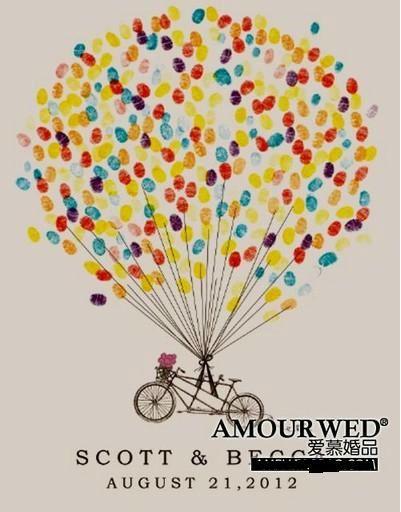 A3 Personalised Hot Air Balloon Fingerprint Wedding Guest Book Alternative, wedding supplies wholesale dropship free shipping