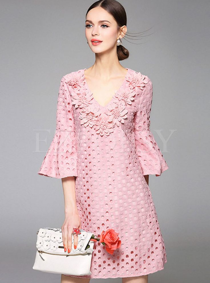 Flare Sleeve V-Neck Hollow Patch Dress