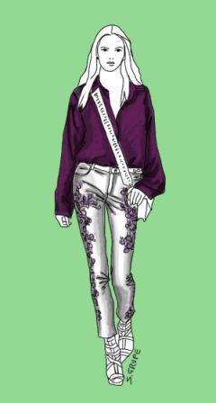 Eine dunkle, tief geöffnete Hemdbluse mit weiten, überschnittenen Ärmeln kombiniert mit einer hellen, hüftig geschnittenen und reich verzierten, schmalen Hose - so sieht ein optimales Outfit für die Frau mit Y-Figur aus. Mehr Tipps gibt es im Blog modefluesterin.de!