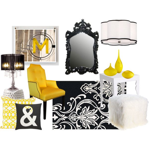 Black And Yellow Decor, Created By Michell Morley On Polyvore