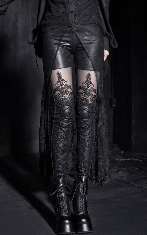 gothic clothing | TumblrLace, Style, Clothing, Macbeth Legs, Fashion Women, Boots, Gothic Fashion, Black, Leggings