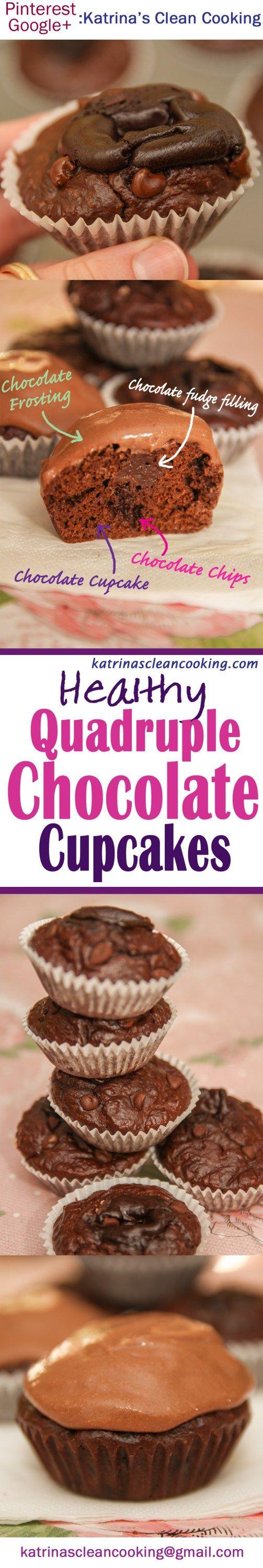 Gluten-free, refined-sugar-free Healthy Quadruple Chocolate Cupcakes #healthy #chocolatecupcakes #sugarfree